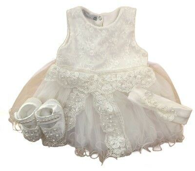 Baby Girls Occasion Christening Ivory & Blush Dress Headband & Shoes Outfit SS18