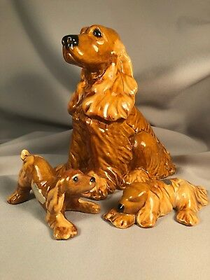 Haeger Group Of 3 Cocker Spaniel Dog Figurines, Each Different