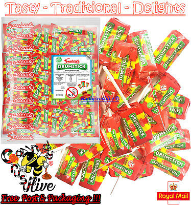60 Swizzels Original Drumsticks Lollies Sweets Traditional Sweets Chew Kids