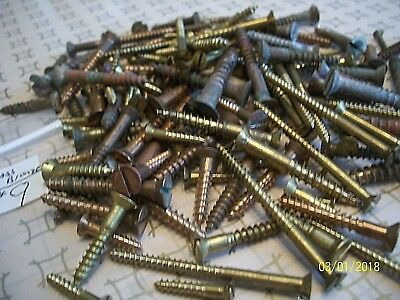 """145 - Vintage Solid Brass Wood Screws With The Flat Reg. Slot Head, 1/2""""- 2"""", #9"""