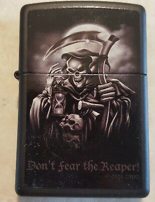 ZIPPO DON'T FEAR THE REAPER LIGHTER BLACK MATTE ANACHARY w ORANGE SEAL