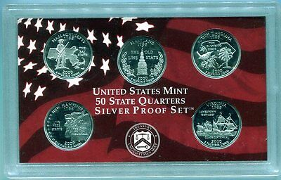 2000 5-piece SILVER STATE QUARTER Proof Set - Free shipping!