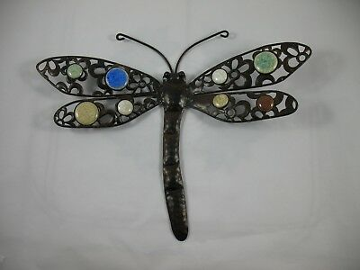 """Metal Dragonfly Wall Garden Decor Decorative Art with Polished Stones 11"""" x 14"""""""