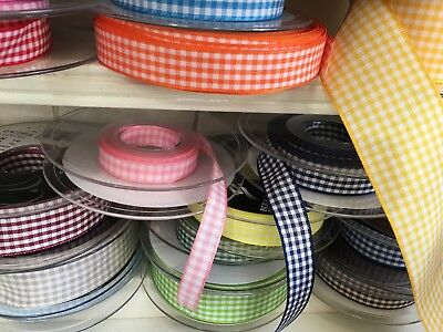 5 Metres x Berisfords UK Gingham Ribbon Choose Colour & Width *FREE 1ST CLASS*