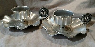 Farber & Shlevin #1447 Pair Floral Aluminum Hand Wrought Candle Holders