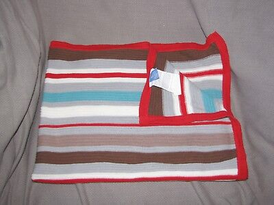 Living Textiles Baby Blanket Knit Sweater Cotton Stripe Blue Gray Cream Red Tan