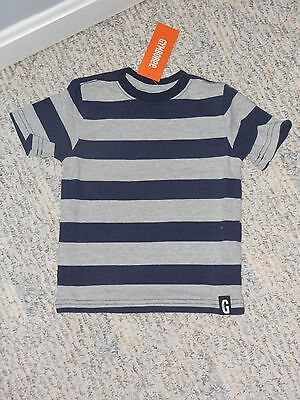 "NWT - Gymboree ""Hop n Roll"" short sleeved grey & navy striped shirt - 18-24 mos"