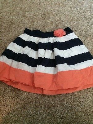 Cherokee Girls Dark Blue White Pink Striped Flower Pocket Skirt Size Large 10–12