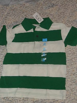 NWT - Childrens Place short sleeved green & ivory striped polo shirt - 18-24 mos