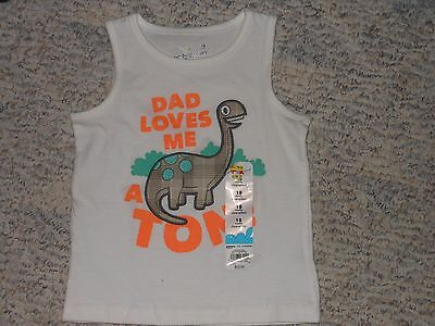 "NWT - Jumping Beans ""Dad Loves Me"" sleeveless dinosaur shirt - 18 mos boys"