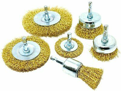 6pc Wire Brush Drill Attachments Brass coated Wheel Cups Deburr Rust removal