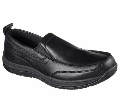77129 Black Skechers shoe Memory Foam Work Men Comfort Loafer Slip Resistant New