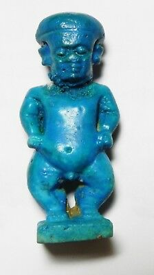 Zurqieh -As3307- Ancient Egypt , Sharp Faience Pataikos Amulet, 600 - 300 B.c