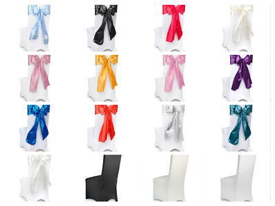 Wedding Satin Chair Ties Sashes Bows - Black Red White Ivory Pink Blue Purple