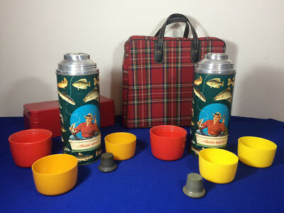 VINTAGE - 1952 Rare Set - Aladdin Angler Thermos - Case Tackle Lunchbox Fishing