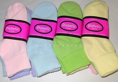 3 / 6 Pairs Womens Pastel Colored Soft Cotton Blend Diabetic Ankle Socks US Made