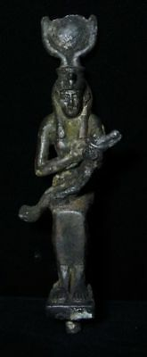 ZURQIEH -AS3315- ANCIENT EGYPT.  Bronze Isis Nursing Horus Statue . 600-300 B.C