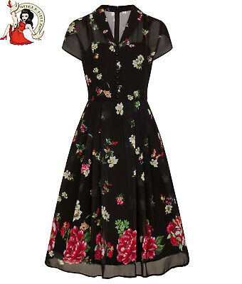 196132bc23d4 HELL BUNNY JOLIE PAPILLON butterfly FLORAL 40s style CHIFFON tea DRESS  XS-4XL