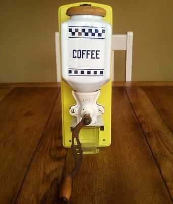 vintage wall mounted coffee grinder ceramic Pe De yellow shabby chic