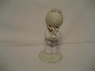Precious Moments-1987-Wishing You A Happy Easter-Bisque Figurine-Vessel Indented