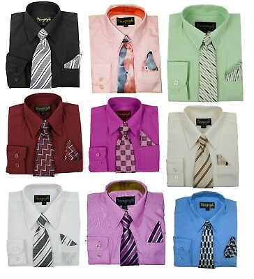 Dress Shirt Baby Toddler Boy Long Sleeve Tie Pocket Square Solid Button Down nwt