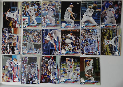 2018 Topps Series 1 Los Angeles Dodgers Team of 17 Baseball Cards