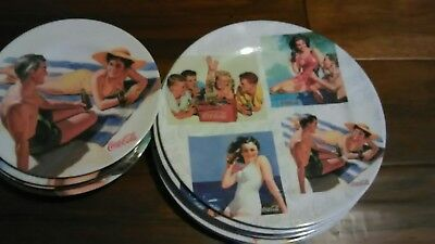 "Coca Cola Beach Party Plastic Plates Set (12) 6-8"" 6-11"" 2002"