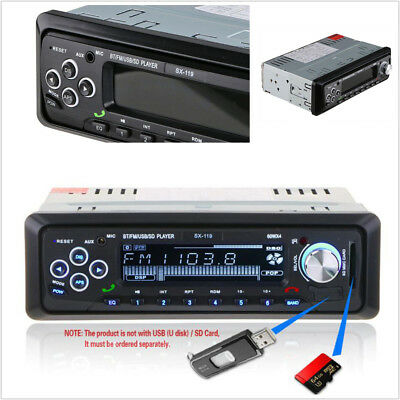 12V 1 Din Bluetooth Car Stereo FM Radio MP3 Audio Player with USB/SD MMC Port