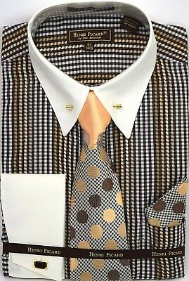 Men's Dress Shirt Tie Hanky Set Plaid Ivory/Brown Cuff Links French Cuff