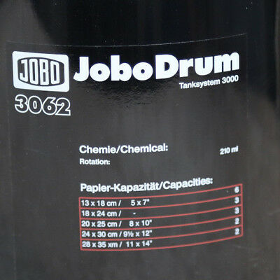 JOBO 3062 Expert Drum: up to 2-11X14 Film or Print Excellent Cond