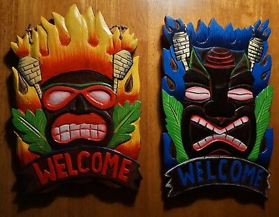 Set of 2 Tiki Idol Statue Carved Welcome Mask Sign Beach Bar Home Decor Set NEW