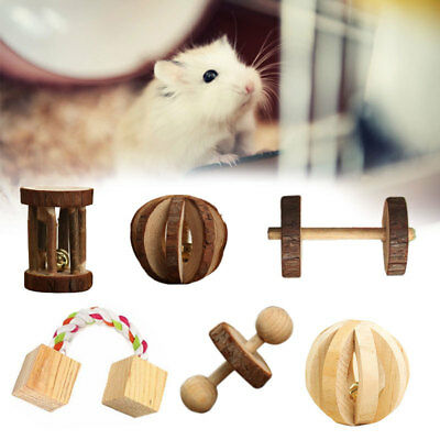 Wooden Bell Ball Small Animal Exercise Chew Toy Rabbit Hamster Rat Pet Dog Cat
