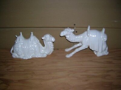 2 Large Goebel Nativity Camels in White Overglaze used with Hummel Nativity Set