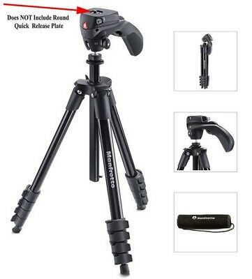 Manfrotto Compact Action Tripod - MKCOMPACTACN-BK - No Quick Release Plate