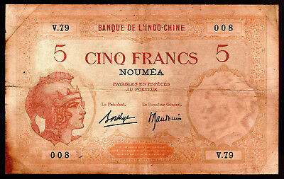 NEW CALEDONIA- 5 FRANCS BANKNOTE PICK-36b 1926 ISSUE VERY GOOD-FINE