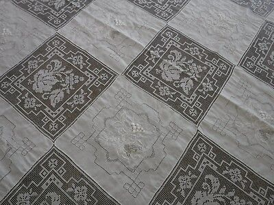 """Vintage White Army Navy Filet Lace Tablecloth 74"""" x 104"""" Grapes"""