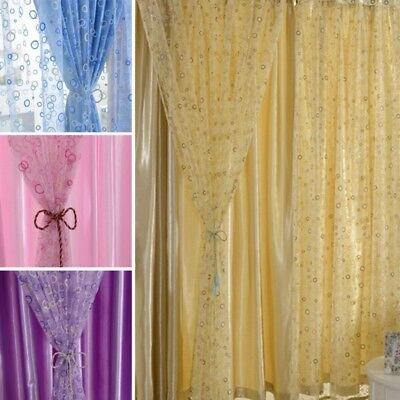 Circle Pattern Room Voile Window Curtains Sheer Panel Drapes Scarfs Curtains US