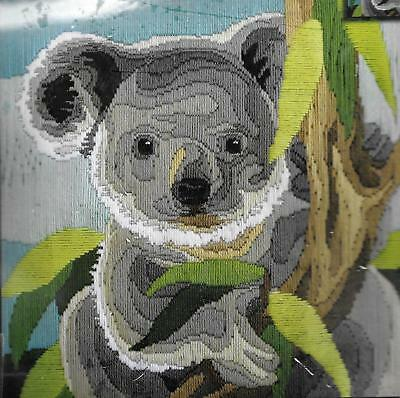 30x30cm long stitch kit koala country threads 100% wool tapestry fauna aussie