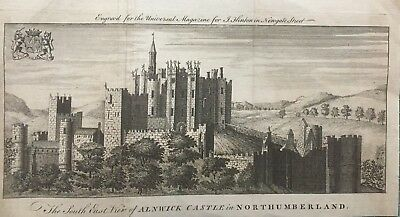 1754 Antique Print; Alnwick Castle, Northumberland