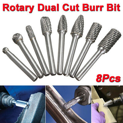 8x 1/4'' Tungsten Carbide Rotary Burr Drill Bit CNC Engraving Cutter Tool Set US