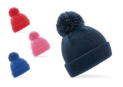 5d7ac792b066bf Beechfield Kids/Junior Reflective Bobble Beanie Hat. Knitted/Winter/Wooly  B406B