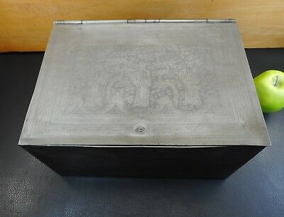 Antique 19th c. Chinese Motif Pewter Tea Caddy Box Engraved Men Scholar  9x12x6