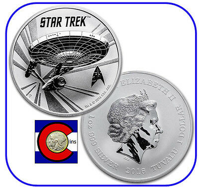 2016 Tuvalu Star Trek Original U.S.S. Enterprise 1 oz silver coin in airtite