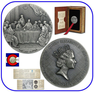 2016 Niue Last Supper 2 oz Silver Coin w/ COA and packaging -- Biblical Series