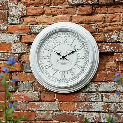Outdoor Retro Clock Large Wall Clock for Garden Indoor White Shabby Chic Face