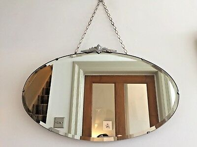 Art Deco Vintage Frameless Mirror Bevelled Fan Detail 1920s 1930s Chain 56x33cm