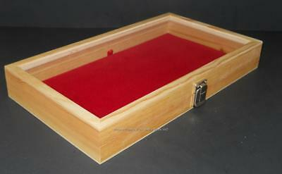 Lot of 3 Factory 2nds Natural Wood Glass Lid Red Pad Knife Display Cases
