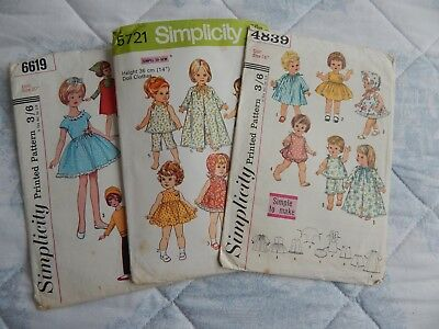 THREE VINTAGE dolls clothes sewing patterns 1960,s-70,s - £10.51 ...