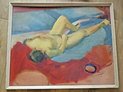 Large Vintage R Cottrell Signed Oil Painting on Board
