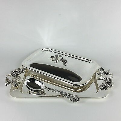 Godinger Silver Plate Serving Tray With Grape Design, Lid, Lg Serving Spoon